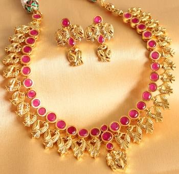 Gorgeous Uncut Ruby Royal Peacock Bridal Necklace Set