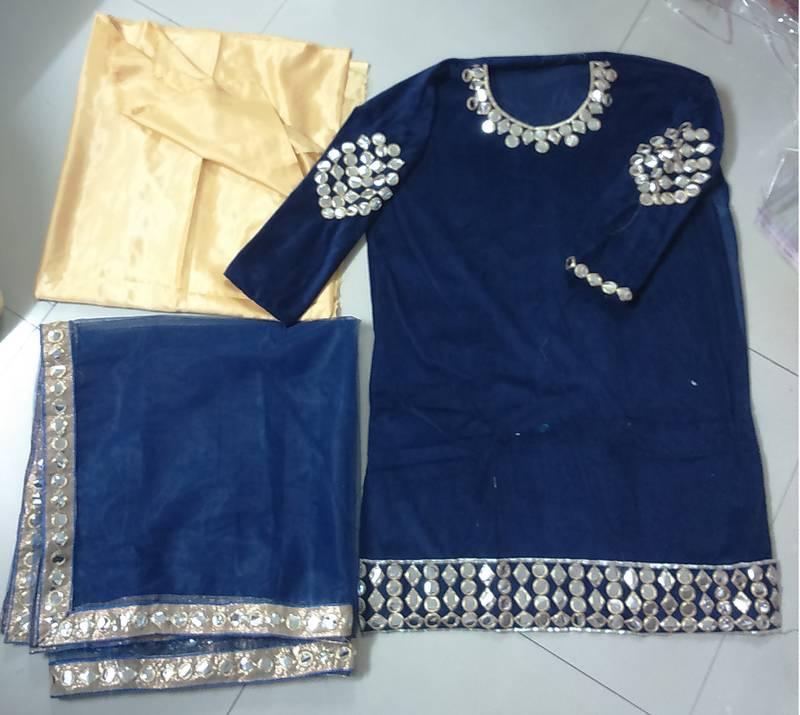 Jomso Blue Velvet Embroidered Mirror Work Salwar With Dupatta