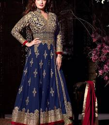 Buy Blue georgette embroidered semi stitched salwar with dupatta semi-stitched-salwar-suit online