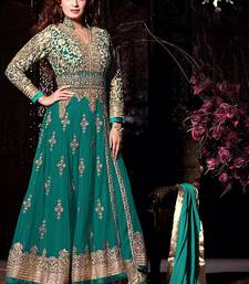 Buy Green georgette embroidered semi stitched salwar with dupatta wedding-salwar-kameez online