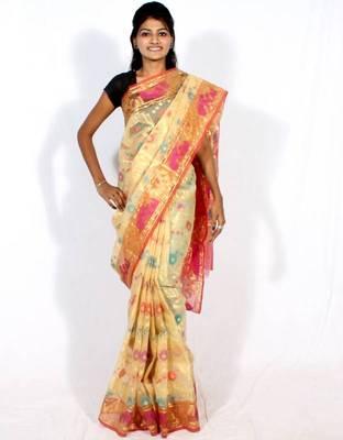 Organza Banarasi Zari Resham Work Saree