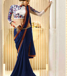 Buy Shreeji Fashion White and  blue chiffon embroidered saree with blouse party-wear-saree online