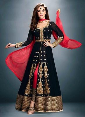 154926080f Black Georgette embroidered semi stitched salwar with dupatta ...