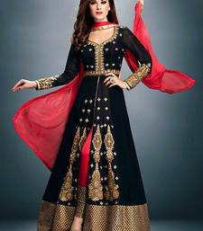Buy Black Georgette embroidered semi stitched salwar with dupatta wedding-salwar-kameez online