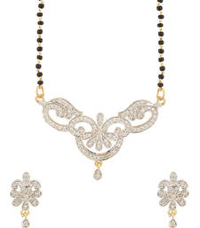Buy Single Chain Mangalsutra Set With Glittering Crystals-PSJAI25810 mangalsutra online
