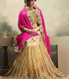 Buy PINK and CREAM embroidered net saree with blouse chiffon-saree online