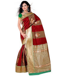 Buy Maroon and Beige printed art_silk saree with blouse banarasi-silk-saree online
