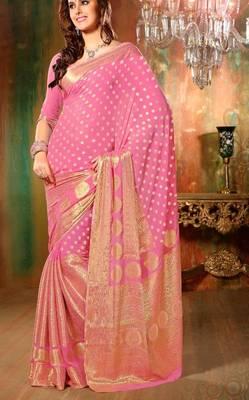 6277024835 Gorgeous Banarasi Chiffon Wedding Saree - Pink - Aum Sanskriti - 98485