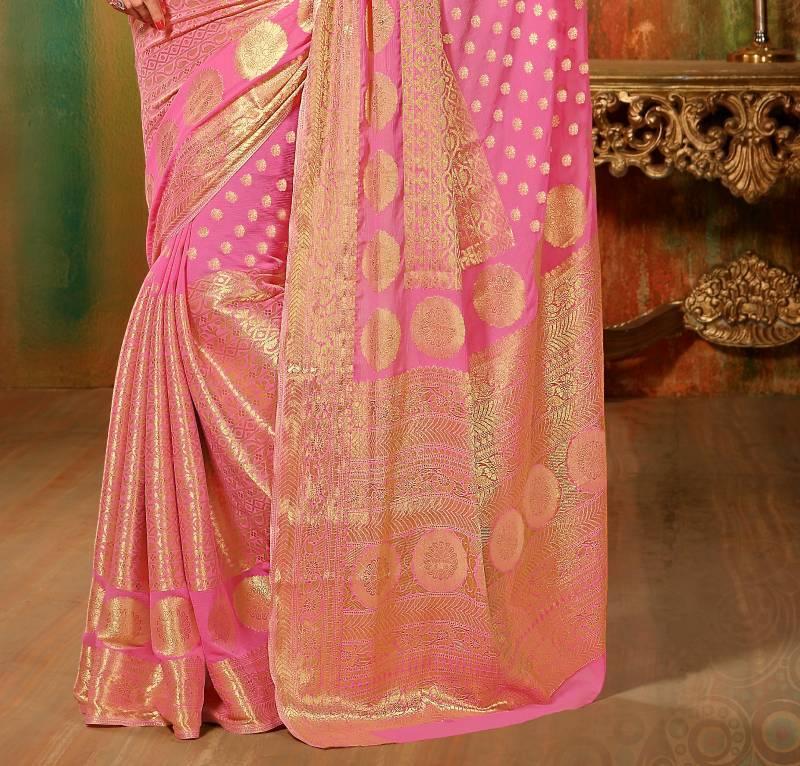 Buy Gorgeous Banarasi Chiffon Wedding Saree Pink Online