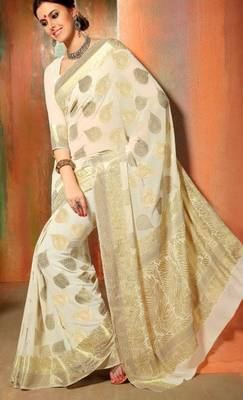 Buy Gorgeous Banarasi Chiffon Wedding Saree Off White Online
