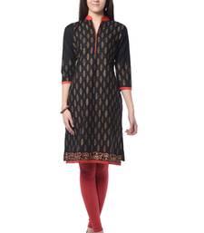 Buy Black Block Print Cotton Kurti long-kurti online