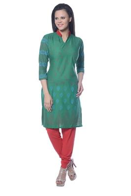 Green Block Print Cotton kurti