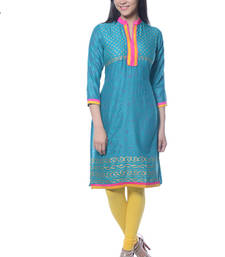 Buy Turquoise Block Print Rayon kurti long-kurtis online