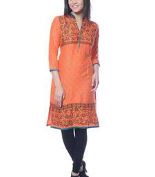 Buy Orange & Black Block Print Rayon kurti kurtas-and-kurti online