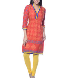 Orange Block Print Rayon kurti