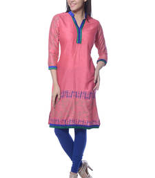Buy Peach Block Print Rayon kurti long-kurti online