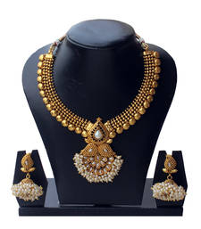 Buy Must-Have Anqitue Gold Auspicious Copper Necklace Set in White necklace-set online
