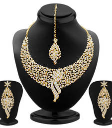 Buy Sleek Gold plated AD Stone Necklace Set women-ethnic-wear online