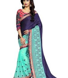 Buy Navy blue and sky blue printed Velvet and lycra saree with blouse velvet-saree online