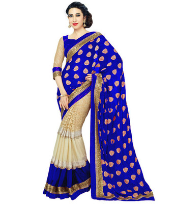 Blue printed georgette saree