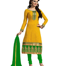 Buy Yellow Embroidered chanderi unstitched salwar with dupatta party-wear-salwar-kameez online