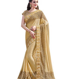 Buy Gold embroidered lycra saree with blouse party-wear-saree online