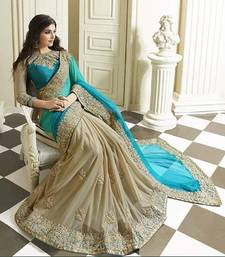 Buy Firozi embroidered georgette saree with blouse other-actress-saree online