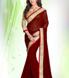 Buy Maroon embroidered georgette saree with blouse karwa-chauth-saree online