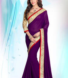 Wine embroidered georgette saree with blouse
