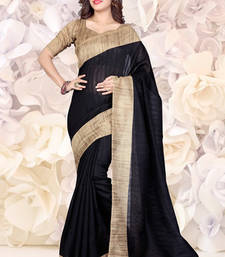 Buy Black and Beige plain bhagalpuri silk saree with blouse bhagalpuri-silk-saree online