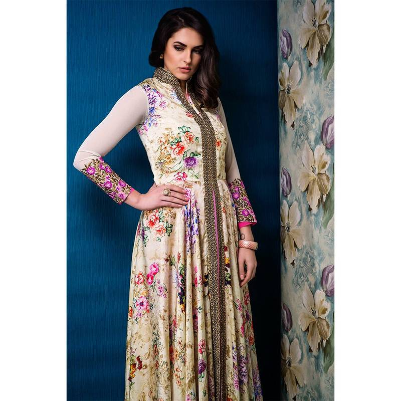 Buy Cream printed Satin and Raw Silk party-wear-salwar-kameez Online