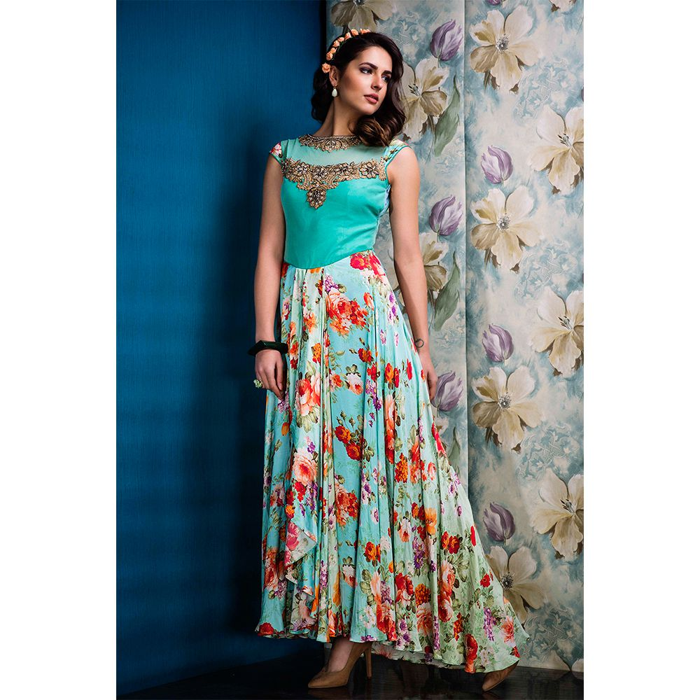 b0e392175b Green printed Raw Silk and Net party-wear-salwar-kameez - Ishimaya - 886835