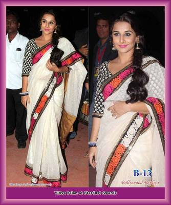 954a66275cbca3 Vidya balan's white beautiful saree with colored embroidery border - Sareez  House - 99824