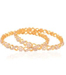 Buy Mesmerising Gold plated american diamond bangle bangles-and-bracelet online