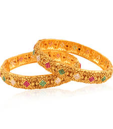 Buy Scintillating Gold plated antique fusion bangle bangles-and-bracelet online