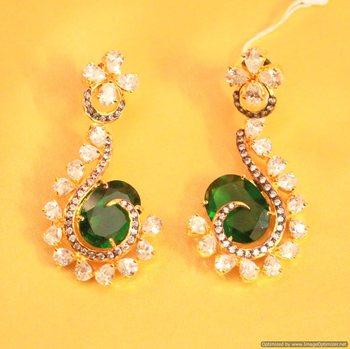 Green Emerald Diamond Look Danglers