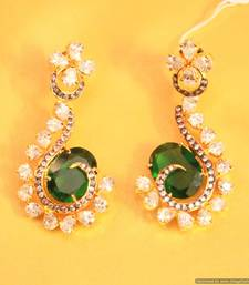 Green Emerald Diamond Look Danglers