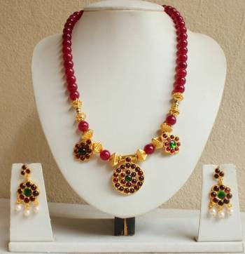 Beautiful Ruby Designer Unique Temple Necklace Set