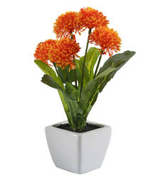 Buy Orange  and  Green Artificial Floral Plant with Ceramic Pot pot online