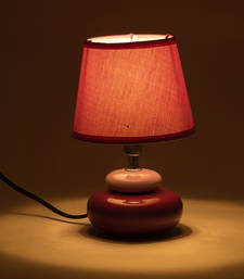 Buy Purple Fabric Shade Ceramic Base Table Lamp table-lamp online