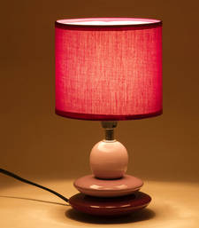Buy Purple Cylinderical Shade Ceramic Base Table Lamp table-lamp online