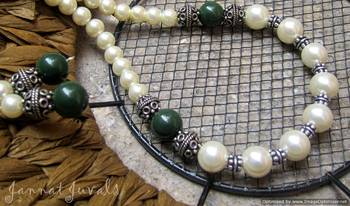 White Pearl with Green and Silver Neckpiece