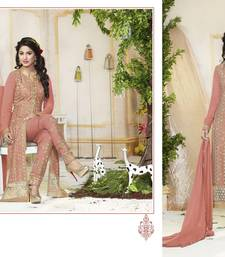 Buy Peach embroidered georgette unstitched salwar with dupatta dress-material online