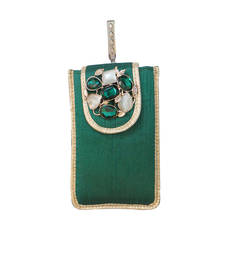 Buy Raw Silk Mobile Cover With Elegant Brooch (Green) wallet online