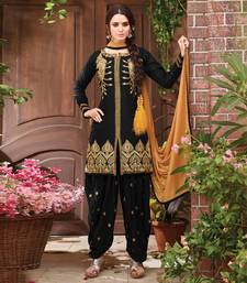 Black embroidered cambric cotton unstitched salwar with dupatta