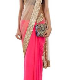 Buy FABULOUSpink and beige georgette-saree online