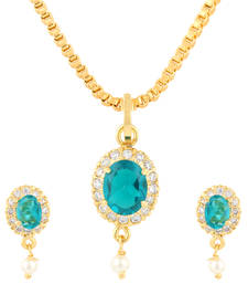 Buy Blue Gold Plated CZ Pendant Set Pendant online