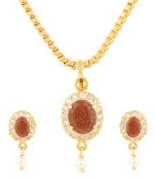 Buy Brown Gold Plated CZ Pendant Set Pendant online