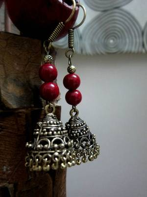 Red Golden Jhumka