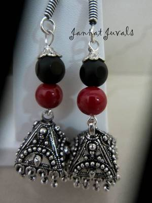Silver Jhumka with Red & Black Beads